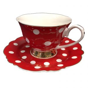 Blue Cadeaux Cup And Saucer Red/White Spots