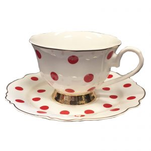 Blue Cadeaux Cup And Saucer White/Red Spots