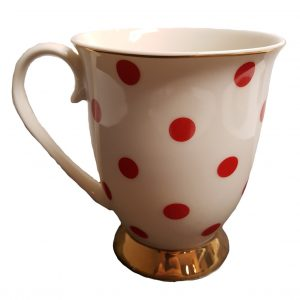 Blue Cadeaux Mug White With Red Spots