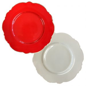 Blue Cadeaux Set Of 2 Plates White & Red