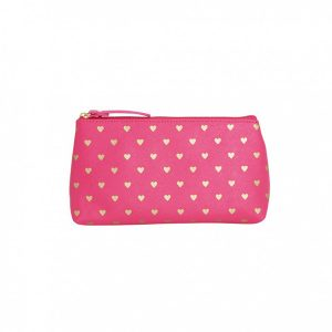Bisous Gold Heart Make Up Bag Fuchsia