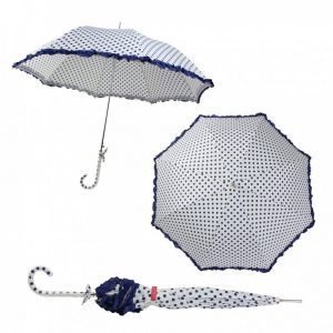 Bombay Duck Confetti Large Umbrella White/Blue Spots