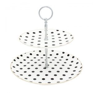 Bombay Duck Miss Darcy Two Tier Cake Stand White/Silver Spots