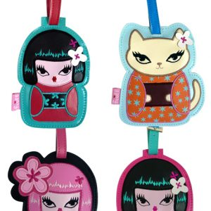 Fluff Luggage Tags Kimono Cuties – Set Of 4