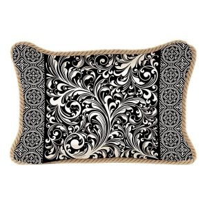 MDW Decorative Pillow Rectangle – Black Florentine