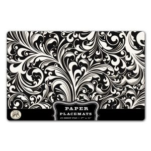 MDW Paper Placemats – Black Florentine