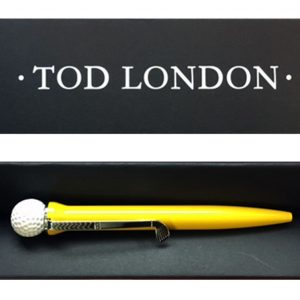 Tod London Golf Ball Pen Yellow In A Black Gift Box
