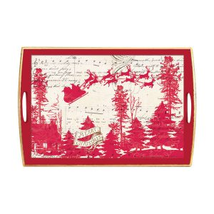 MDW Wooden Decoupage Large Tray – Sleigh Ride