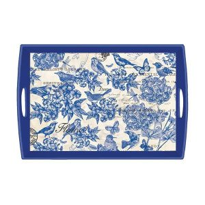 MDW Wooden Decoupage Large Tray – Indigo Cotton