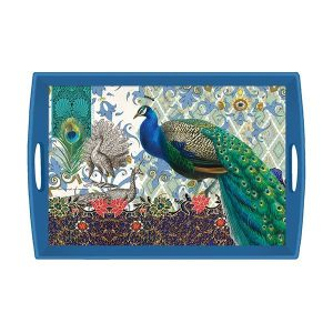 MDW Wooden Decoupage Large Tray – Peacock